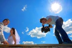 Ευτυχής γάμος και ο κινηματογράφος για τη μνήμη Στοκ φωτογραφίες με δικαίωμα ελεύθερης χρήσης