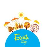 Ευτυχής γήινη ημέρα με τον κόσμο και το δέντρο - διάνυσμα απεικόνιση αποθεμάτων