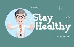 Ευτυχής γιατρός που δίνει στην παραμονή το υγιές διάνυσμα ακρών διανυσματική απεικόνιση