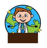 Ευτυχής γιατρός που παρουσιάζει έμβλημα με το γήινο διάνυσμα απεικόνιση αποθεμάτων