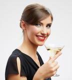 Ευτυχής γιορτάστε το πορτρέτο γυναικών που απομονώνεται στο λευκό στοκ φωτογραφία
