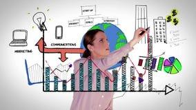 Ευτυχής γραφική παράσταση ολογραμμάτων σχεδίων επιχειρηματιών απόθεμα βίντεο