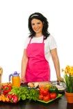 ευτυχής γυναίκα κουζινών στοκ εικόνες