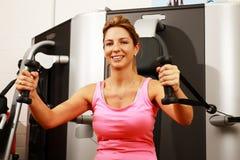 Ευτυχής γυναίκα Μεσαίωνα στη γυμναστική στοκ εικόνες