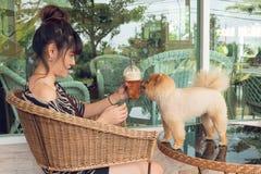 Ευτυχής γυναίκα που παίζει το pomeranian σκυλί Στοκ φωτογραφίες με δικαίωμα ελεύθερης χρήσης