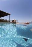 Ευτυχής γυναίκα στην πισίνα στοκ φωτογραφία