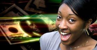 ευτυχής γυναίκα χρημάτων στοκ φωτογραφία με δικαίωμα ελεύθερης χρήσης