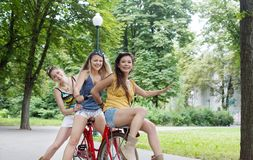 Ευτυχής γύρος κοριτσιών boho κομψός μαζί στα ποδήλατα στο πάρκο Στοκ Φωτογραφία