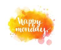 Ευτυχής Δευτέρα Εμπνευσμένο απόσπασμα, καλλιτεχνικό διάνυσμα απεικόνιση αποθεμάτων