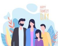 Ευτυχής διανυσματική απεικόνιση ευχετήριων καρτών οικογενειακής ημέρας απεικόνιση αποθεμάτων