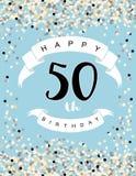 Ευτυχής διανυσματική απεικόνιση 50ων γενεθλίων Μπλε υπόβαθρο με το ελαφρύ κομφετί, τις άσπρες κορδέλλες και τις μαύρες επιστολές διανυσματική απεικόνιση