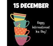 Ευτυχής διεθνής απεικόνιση φλυτζανιών τσαγιού εμβλημάτων Δεκεμβρίου ημέρας τσαγιού Διανυσματική απεικόνιση
