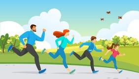 Ευτυχής δραστηριότητα οικογενειακού αθλητισμού Τρέχοντας άσκηση ελεύθερη απεικόνιση δικαιώματος