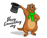 Ευτυχής εγγραφή απεικόνισης ημέρας Groundhog Στοκ φωτογραφία με δικαίωμα ελεύθερης χρήσης
