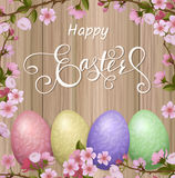Ευτυχής εγγραφή Πάσχας, μελόψωμο υπό μορφή αυγών Διακοπές άνοιξη, υπόβαθρο Πάσχας Στοκ Εικόνα