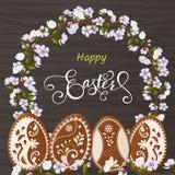 Ευτυχής εγγραφή Πάσχας, μελόψωμο υπό μορφή αυγών Διακοπές άνοιξη, υπόβαθρο Πάσχας Στοκ φωτογραφίες με δικαίωμα ελεύθερης χρήσης