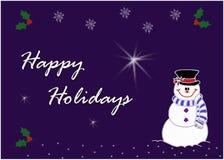 Ευτυχής εικόνα ευχετήριων καρτών χιονανθρώπων Στοκ Εικόνες