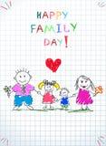 Ευτυχής εικόνα Doodle παιδιών οικογενειακής ημέρας πρόγονοι ελεύθερη απεικόνιση δικαιώματος