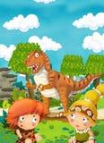 Ευτυχής δεινόσαυρος κινούμενων σχεδίων - τυραννόσαυρος - ευτυχές ζευγάρι των ανθρώπων ελεύθερη απεικόνιση δικαιώματος