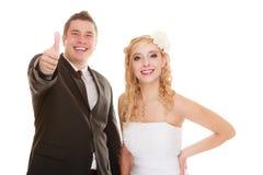 ευτυχής εκλεκτής ποιότητας γάμος ημέρας ζευγών ιματισμού Ευτυχείς νύφη και νεόνυμφος ζευγών πορτρέτου Στοκ Φωτογραφίες