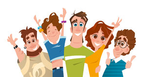Ευτυχής επιτυχής σύγχρονη ομάδα χαμόγελου των φίλων σπουδαστών Στοκ φωτογραφία με δικαίωμα ελεύθερης χρήσης
