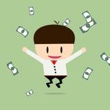 Ευτυχής επιχειρηματίας με τις επιταγές σε ένα μεγάλο ποσό Κέρδος, επίδομα, μέσα Στοκ εικόνα με δικαίωμα ελεύθερης χρήσης