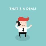 Ευτυχής επιχειρηματίας που μιλά τηλεφωνικώς Στοκ Φωτογραφίες