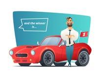 Ευτυχής επιχειρηματίας που στέκεται κοντά στο σπορ αυτοκίνητο Νικητής ατόμων και το αθλητικό αυτοκίνητό του επίσης corel σύρετε τ Στοκ Εικόνες