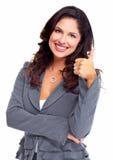 Ευτυχής επιχειρησιακή γυναίκα. Επιτυχία. Στοκ Εικόνες