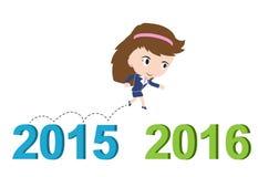 Ευτυχής επιχειρησιακή γυναίκα που τρέχει από το 2015 ως το 2016, νέα έννοια επιτυχίας έτους, Στοκ Εικόνα
