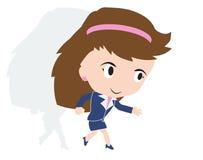 Ευτυχής επιχειρησιακή γυναίκα που τρέχει γρήγορα, έννοια της πρόκλησης στην επιχείρηση, Στοκ Φωτογραφίες