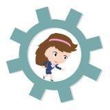 Ευτυχής επιχειρησιακή γυναίκα που τρέχει στο εργαλείο, έννοια επιχειρησιακής εργασίας Στοκ Εικόνες