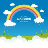 Ευτυχής εποχή μουσώνα, με την απεικόνιση σύννεφων, ουράνιων τόξων και βροχής ελεύθερη απεικόνιση δικαιώματος
