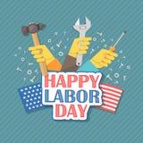 Ευτυχής Εργατική Ημέρα Αμερικανός Επίπεδη απεικόνιση Στοκ εικόνα με δικαίωμα ελεύθερης χρήσης