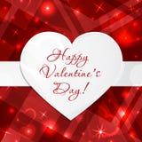 Ευτυχής ευχετήρια κάρτα ημέρας βαλεντίνων ` s με τις καρδιές και διάστημα για το κείμενο Διανυσματική ανασκόπηση Στοκ Εικόνες