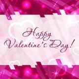 Ευτυχής ευχετήρια κάρτα ημέρας βαλεντίνων ` s με τις καρδιές και διάστημα για το κείμενο Διανυσματική ανασκόπηση Στοκ εικόνα με δικαίωμα ελεύθερης χρήσης