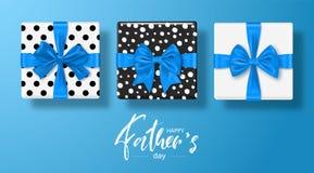 Ευτυχής ευχετήρια κάρτα ημέρας πατέρων s με τα κιβώτια δώρων που τίθενται με το τόξο επίσης corel σύρετε το διάνυσμα απεικόνισης διανυσματική απεικόνιση