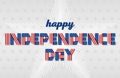 Ευτυχής ευχετήρια κάρτα ημέρας της ανεξαρτησίας για την ΑΜΕΡΙΚΑΝΙΚΗ εθνική εορτή επίσης corel σύρετε το διάνυσμα απεικόνισης Στοκ φωτογραφία με δικαίωμα ελεύθερης χρήσης