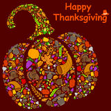 Ευτυχής ευχετήρια κάρτα διακοπών ημέρας των ευχαριστιών διανυσματική απεικόνιση