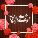 Ευτυχής ευχετήρια κάρτα καλλιγραφίας ημέρας παππούδων και γιαγιάδων στο καφετί πλεκτό υπόβαθρο με τα ροδαλά λουλούδια Στοκ φωτογραφίες με δικαίωμα ελεύθερης χρήσης