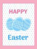 Ευτυχής ευχετήρια κάρτα Πάσχας Αυγά με τα λωρίδες και τα διακοσμητικά σχέδια κύκλων Πρότυπο καρτών διακοπών Στοκ εικόνες με δικαίωμα ελεύθερης χρήσης
