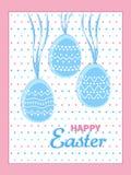 Ευτυχής ευχετήρια κάρτα Πάσχας Αυγά με τα λωρίδες και τα διακοσμητικά σχέδια κύκλων Πρότυπο καρτών διακοπών Στοκ Εικόνες