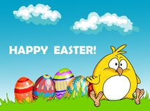Ευτυχής ευχετήρια κάρτα Πάσχας με τα αυγά και έναν νεοσσό Στοκ εικόνες με δικαίωμα ελεύθερης χρήσης