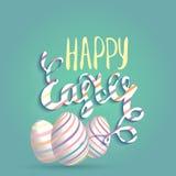 Ευτυχής ευχετήρια κάρτα Πάσχας με τα αυγά και την εγγραφή Διανυσματική έννοια για τους ιστοχώρους και έντυπα υλικά στο ύφος κινού Στοκ Εικόνες