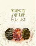 Ευτυχής ευχετήρια κάρτα Πάσχας με τα αυγά Στοκ εικόνα με δικαίωμα ελεύθερης χρήσης