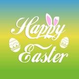 Ευτυχής ευχετήρια κάρτα Πάσχας με τα αυτιά λαγουδάκι και το έμβλημα και τα αυγά κειμένων Στοκ Φωτογραφία