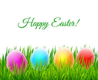 Ευτυχής ευχετήρια κάρτα Πάσχας με τα ζωηρόχρωμα πράσινα gras γυαλιού eggson Στοκ Εικόνες