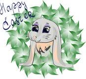 Ευτυχής ευχετήρια κάρτα Πάσχας με τα φύλλα και το λαγουδάκι r   ελεύθερη απεικόνιση δικαιώματος