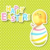 Ευτυχής ευχετήρια κάρτα Πάσχας με το αυγό και το κοτόπουλο Στοκ φωτογραφία με δικαίωμα ελεύθερης χρήσης