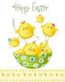Ευτυχής ευχετήρια κάρτα Πάσχας Χαριτωμένο κοτόπουλο με το κείμενο στα μοντέρνα χρώματα Ευχετήρια κάρτα κινούμενων σχεδίων άνοιξη  Στοκ φωτογραφία με δικαίωμα ελεύθερης χρήσης
